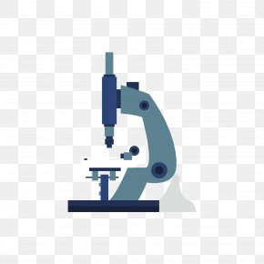 Blue Microscope - Microscope Laboratory Research Flat Design PNG