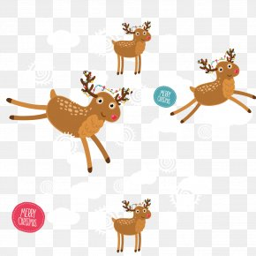 Christmas Reindeer Seamless Background Vector Material - Reindeer Christmas PNG
