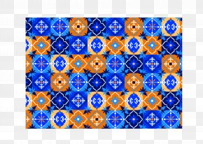 Blue And Orange Brocade Pattern - Brocade Pottery Blue Pattern PNG