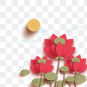 Mid Lotus Decorative Material - Mooncake Mid-Autumn Festival Public Holiday Nelumbo Nucifera Traditional Chinese Holidays PNG