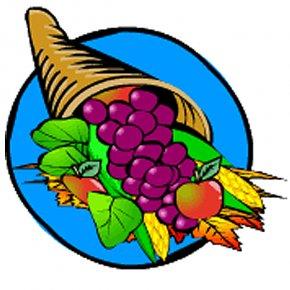 Small Cornucopia Cliparts - Thanksgiving Cornucopia Turkey Clip Art PNG