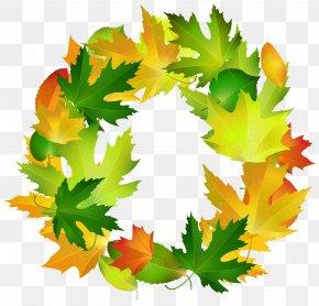 Fall Leaves Oval Border Frame Clipart Image - Leaf Border Oval Clip Art PNG