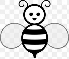 Black And White Bee - Bee Black And White Free Content Clip Art PNG