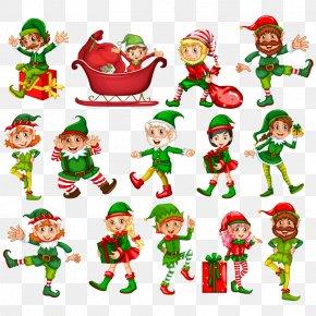 Vector Christmas Cartoon - Christmas Elf Illustration PNG