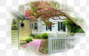 House - House Picket Fence Blossom Carpet PNG