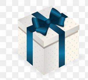 Blue Gift Box Top View - Gift Box Christmas PNG