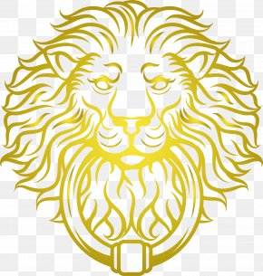Golden Lion Head Vector - Illustration PNG