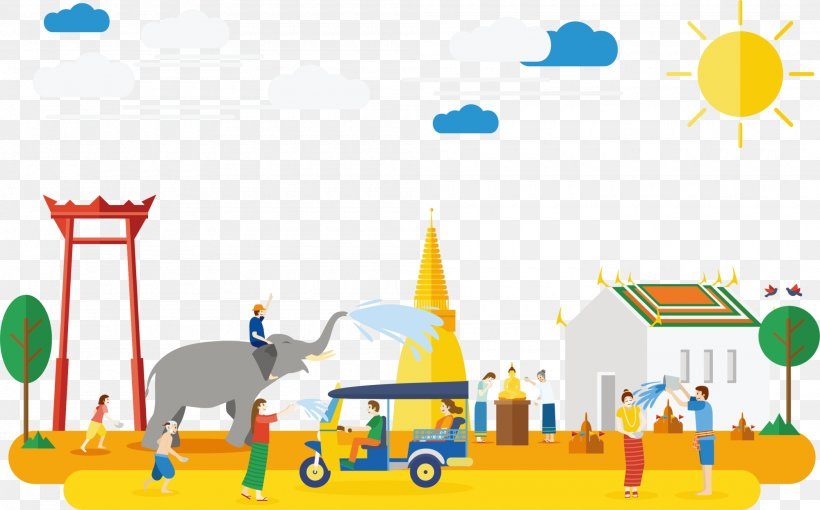 Tourism In Thailand Songkran Illustration, PNG, 2000x1244px, Thailand, Area, Art, Cartoon, Festival Download Free