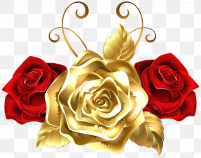 Gold And Red Roses Clip Art Image - Rose Gold Yellow Clip Art PNG