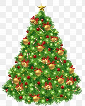 Transparent Christmas Tree With Ornaments And Gold Bells Picture - Christmas Tree Christmas Day Clip Art PNG