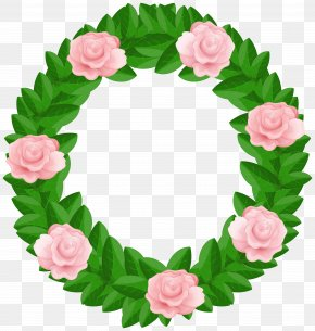 Wreath With Roses Free Clip Art Image - Wreath Garden Roses Clip Art PNG