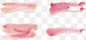 Vector Hand-painted Watercolor Strokes - Lip Gloss Lipstick Pink PNG