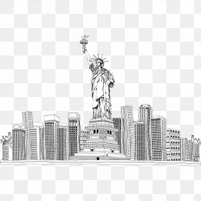 Black & White Statue Of Liberty - Statue Of Liberty Eiffel Tower Zazzle Photography PNG