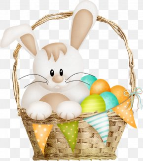 Cartoon Little Rabbit In The Basket And Eggs - Easter Bunny Cartoon Basket PNG