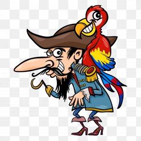 Back Birds Vector Pirate Man - Captain Hook Parrot Piracy Illustration PNG