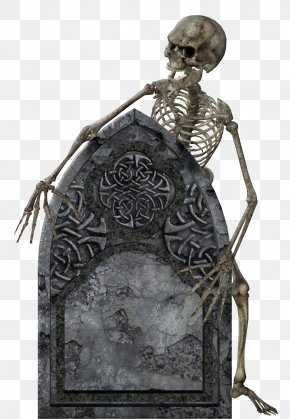 Skeleton With Tombstone Transparent Picture - Headstone Halloween PNG