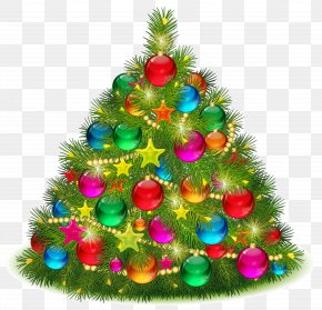 Large Transparent Decorated Christmas Tree Clipart - Christmas Tree Christmas Day Clip Art PNG