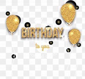 Vector Golden Birthday Celebration Balloons - Birthday Balloon Icon PNG
