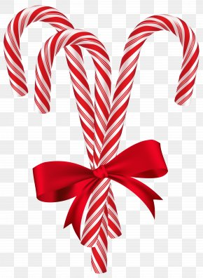 Candy Canes With Red Bow Clip Art Image - Candy Cane Christmas Card Santa Claus Christmas Tree PNG