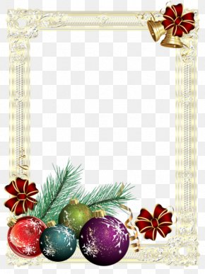 European Gold Frame - Christmas Tree New Year Christmas Card PNG