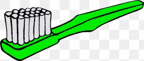 Toothbrush Green - Green Clip Art Line Toothbrush PNG