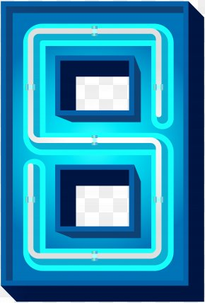 Number Eight Blue Neon Clip Art Image - Blue Icon Clip Art PNG