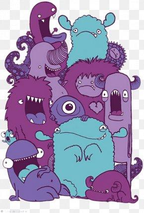 Monster Family - Drawing Monster Illustrator Doodle Illustration PNG