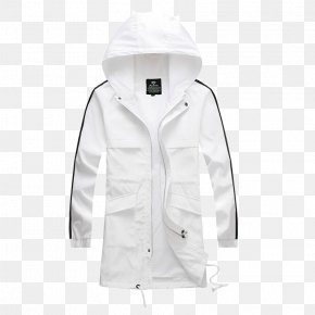 White Hooded Sports Jacket - Hoodie White Jacket PNG