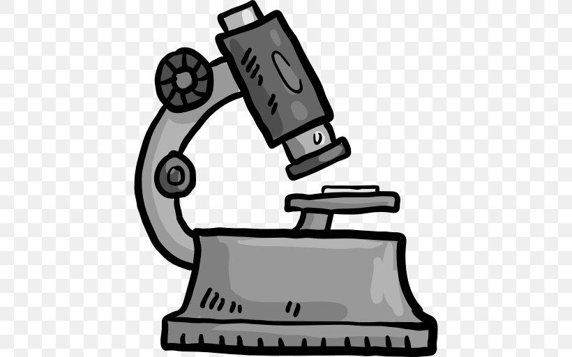 Microscope Icon, PNG, 512x512px, Microscope, Black And White, Cartoon, Clip Art, Monochrome Download Free