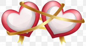 Two Hearts With Ribbon Transparent PNG Clip Art Image - Wedding Invitation Valentine's Day Heart Clip Art PNG