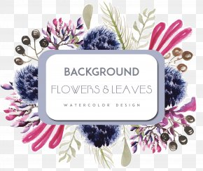 Watercolor Purple Flowers Borders - Watercolor Painting PNG