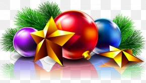 Transparent Christmas Balls And Stars Clipart Picture - Christmas Day Christmas Card New Year Wish PNG