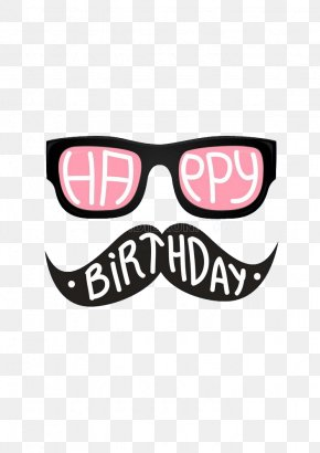 Simple Cartoon Glasses Beard Styling - Birthday Cake Happy Birthday To You Wish Greeting Card PNG