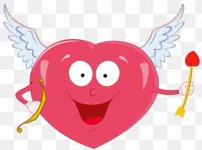 Valentine Heart With Cupid Bow Clipart - Cupid Heart Clip Art PNG