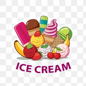 Various Shapes Of Ice Cream Poster Image - Ice Cream Cone Sundae Ice Cream Parlor PNG
