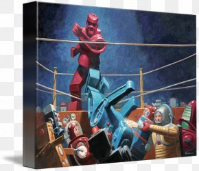Painting - Gallery Wrap Modern Art Rock 'Em Sock 'Em Robots Painting Canvas PNG