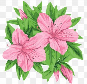 Pink Flowers Clip-Art Image - Pink Flowers Pink Flowers Green PNG