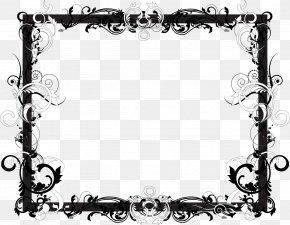 Black Frame - Picture Frames Black And White Floral Design PNG