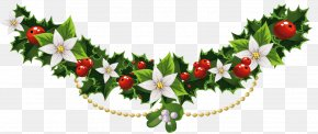 Transparent Christmas Mistletoe Garland With Flowers Clipart - Mistletoe Christmas Common Holly Clip Art PNG
