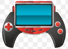 Handheld Game Machine Illustration - Video Game Console Joystick Mobile Device PNG