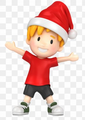 Wearing A Christmas Hat Boy - Boy Child Clip Art PNG