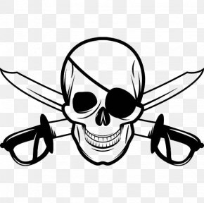 Skull - Jolly Roger Skull And Crossbones Piracy Eyepatch PNG