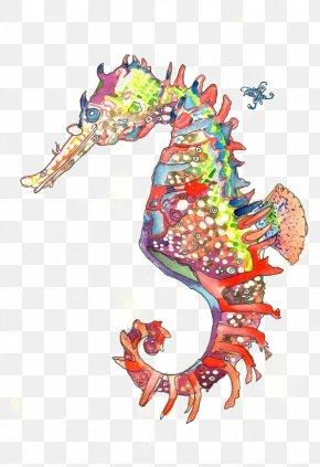 Hippo - Seahorse Hippopotamus Printmaking Watercolor Painting PNG