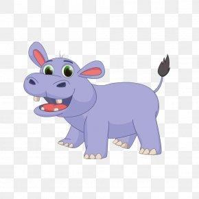 Hand-painted Cute Hippo Material - Hippopotamus Cartoon Drawing Illustration PNG