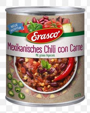 Chili Con Carne - Sauce Vegetarian Cuisine Erasco Chili Con Carne Food PNG