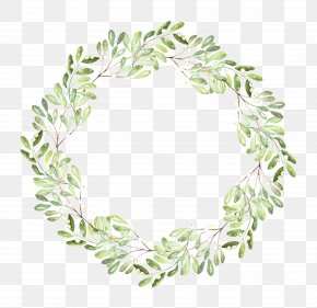 Painted Green Leaves Ring - Watercolor Painting Christmas Decoration Clip Art PNG