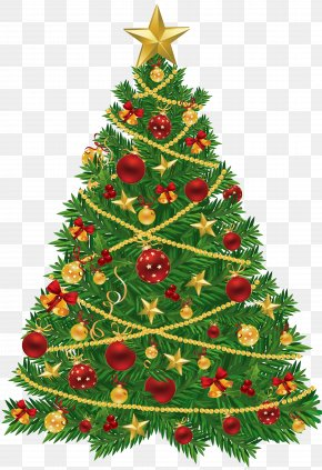 Large Transparent Christmas Tree With Red And Gold Ornaments Clipart - Christmas Tree Santa Claus Christmas Decoration Christmas Ornament PNG