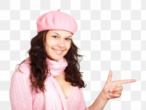 Happy Young Woman Pointing Finger - Woman Hindiu2013Urdu Controversy PNG