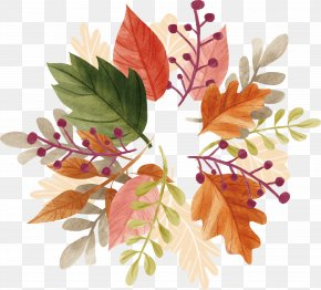 Watercolor Autumn Leaf Heading Box PNG
