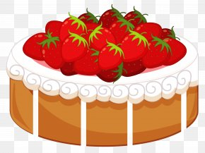 Cake With Strawberries Clipart - Strawberry Cake Birthday Cake Shortcake Icing Clip Art PNG